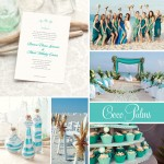 Beach inspired wedding inspiration featuring Coco Palms wedding invite and favors. #weddings #stationery #invitation #favor #beach