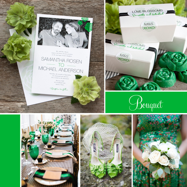 Wedding Inspiration: Bouquet from Evermine #stationery #personalized #favor #label #green #rose #floral