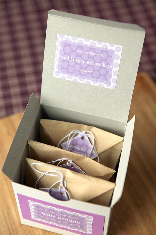 Lavender Oatmeal Tub Tea from My Own Ideas blog #bath #homemade #gift #favor #babyshower