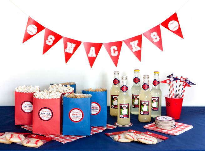 Baseball Themed Birthday Party from My Own Ideas #kid #children #birthday #sports #baseball #printable #party #personalized #favor #snacks