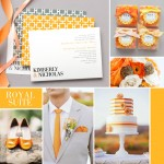 Wedding Inspiration: Royal Suite in Tangerine and Grey #wedding #evermine #stationery #labels #favor
