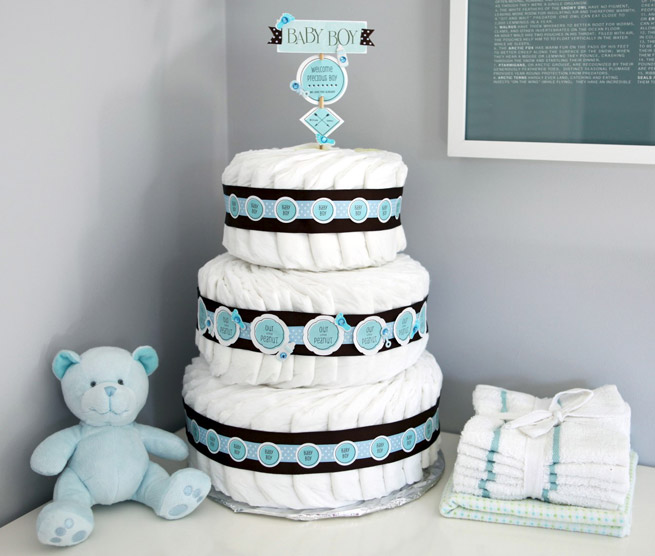 Diaper cake decoration evermine occasions for Baby shower decoration blog