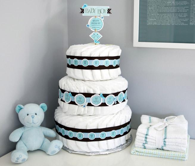 Diaper cake decoration evermine blog for Baby shower decoration ideas blog