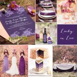 Wedding Inspiration: Lucky In Lace #stationery #invitation #favor #purple #plum #peach #autumn #fall