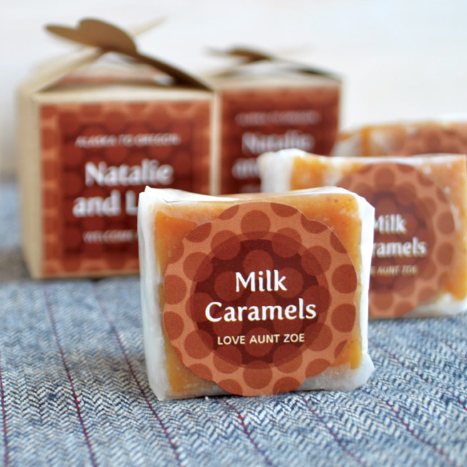 Homemade Milk Caramels from My Own Ideas blog #recipe #dessert #gift #labels