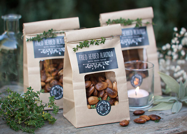 Fried Almond Wedding Favors #homemade #diy #chalkboard #packaging #labels