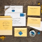 Henna Wedding Stationery from Evermine #paper #invitation #suite #yellow #blue