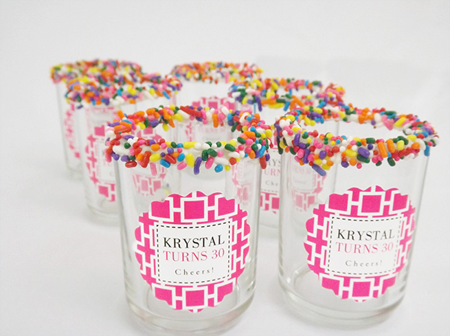 DIY Birthday Cake Shots with Sprinkle-Rimmed Glasses #recipe #alcohol #birthday #party #beverage #cocktail