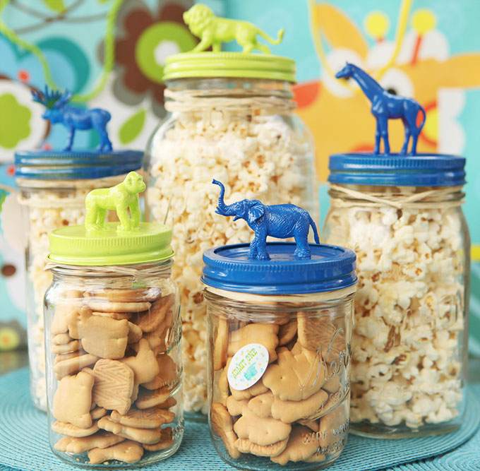 DIY Circus Animal Topped Mason Jars