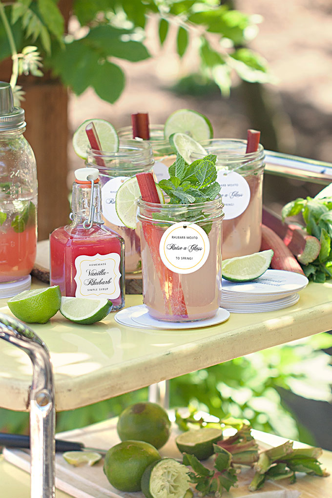 Vanilla-Rhubarb Mojitos with Personalized Beverage Tags, Labels, and Coasters from Evermine (www.evermine.com)