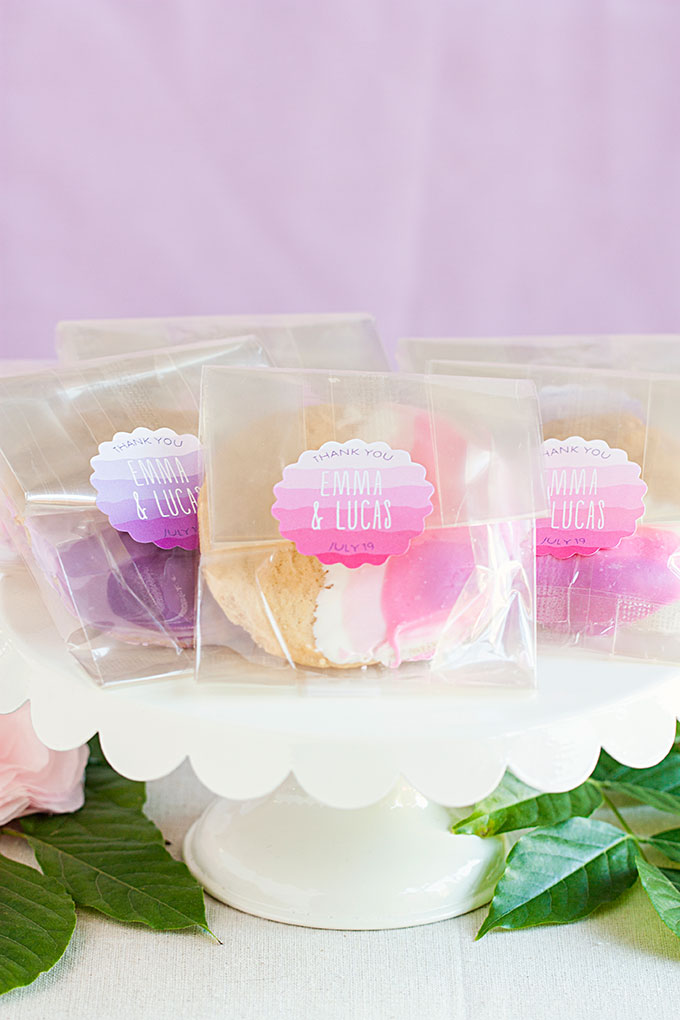Ombre Cookies with personalized Ruffled Ombre wedding labels from Evermine (www.evermine.com)