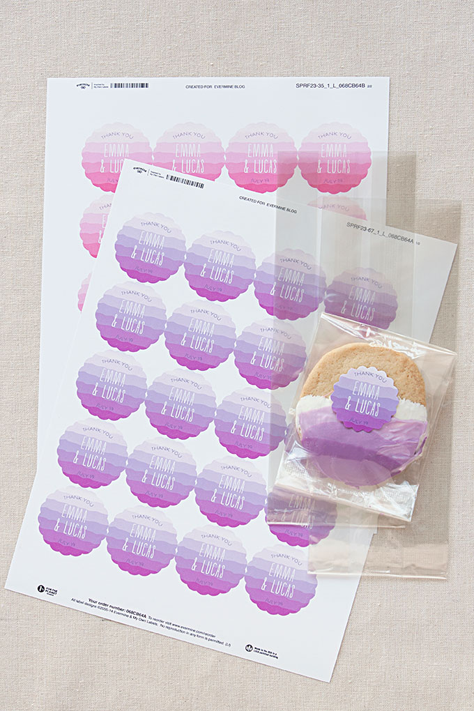 Personalized Ruffled Ombre labels and large cellophane bags from Evermine (www.evermine.com)