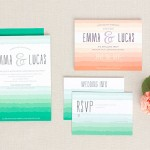 Ruffled Ombre Wedding Stationery