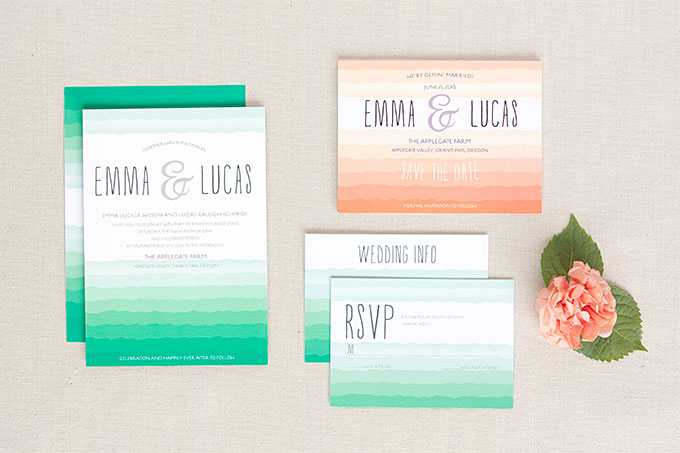 Ruffled Ombre Wedding Invitations and Stationery