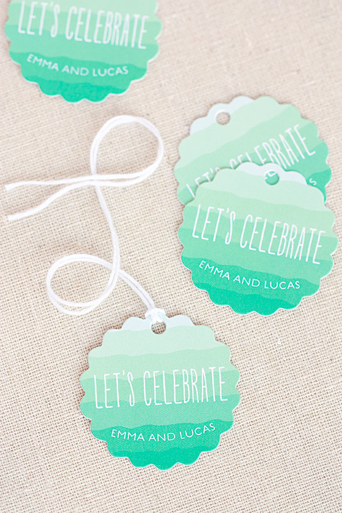 Ruffled Ombre Favor Tags and Wedding Stationery