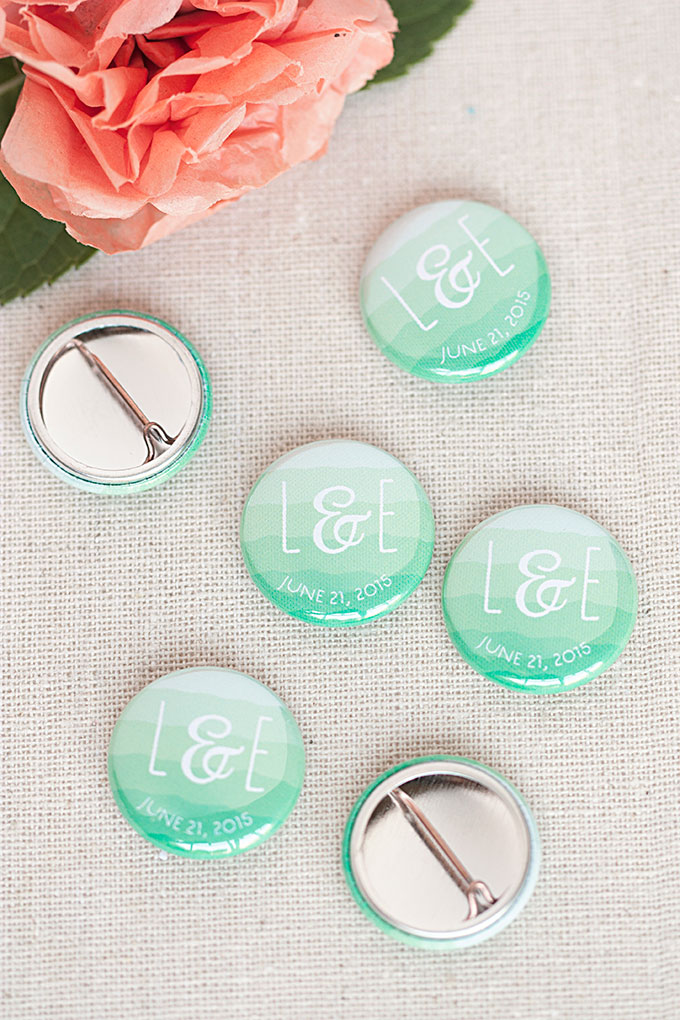 Ruffled Ombre Wedding Pin-Back Buttons and Matching Paper Goods