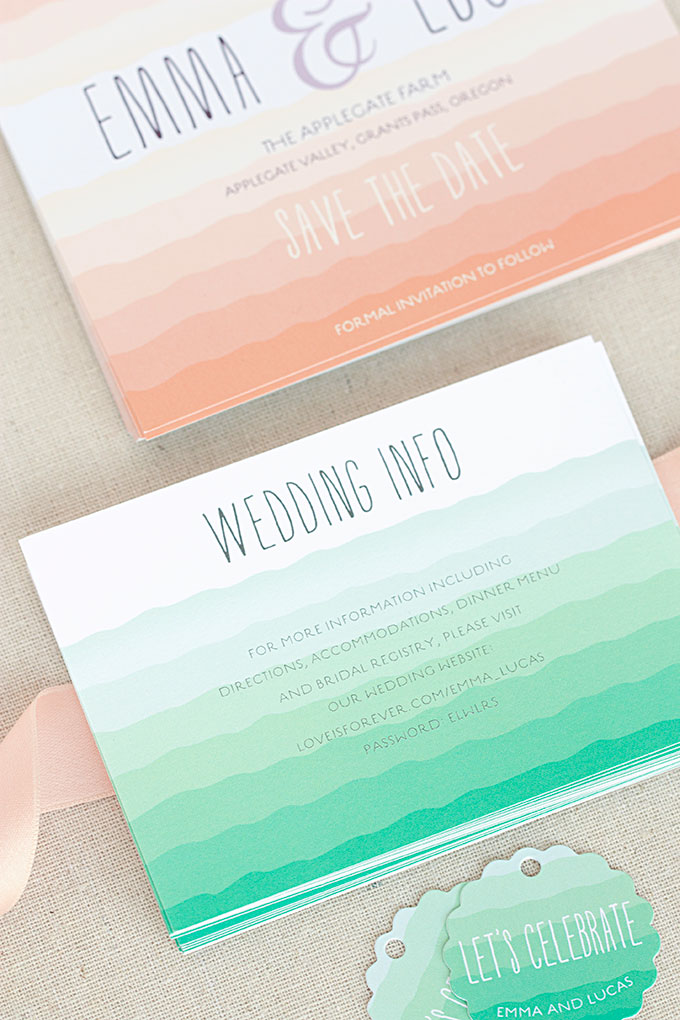 Ruffled Ombre Wedding Info cards and matching stationery