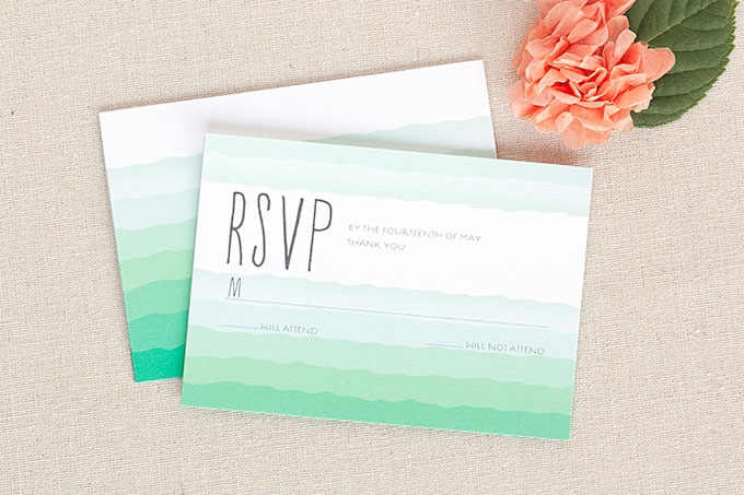 Ruffled Ombre RSVP cards and matching wedding stationery
