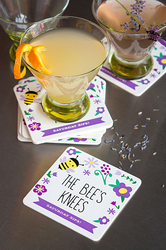 Saturday Sips! The Bees Knees with Personalized Coasters from Evermine (www.evermine.com)