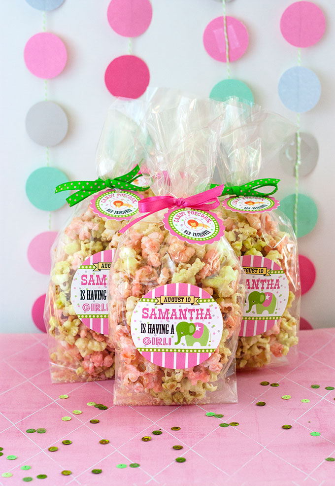 circus baby shower candy popcorn favors evermine blog