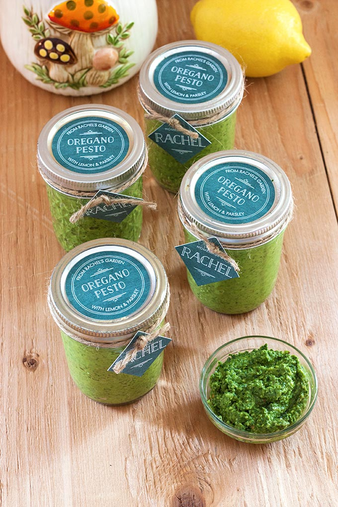 Homemade Oregano Pesto with Personalized Vintage Chalkboard Tags and Labels from Evermine {www.evermine.com}
