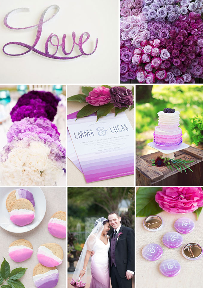 Ruffled Ombre + Radiant Orchid Wedding Inspiration Board