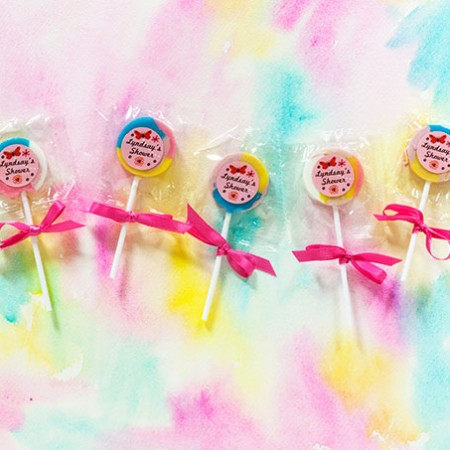 $1 Baby Shower Favor: Pastel Lollipops with personalized Butterfly labels from Evermine {www.evermine.com}