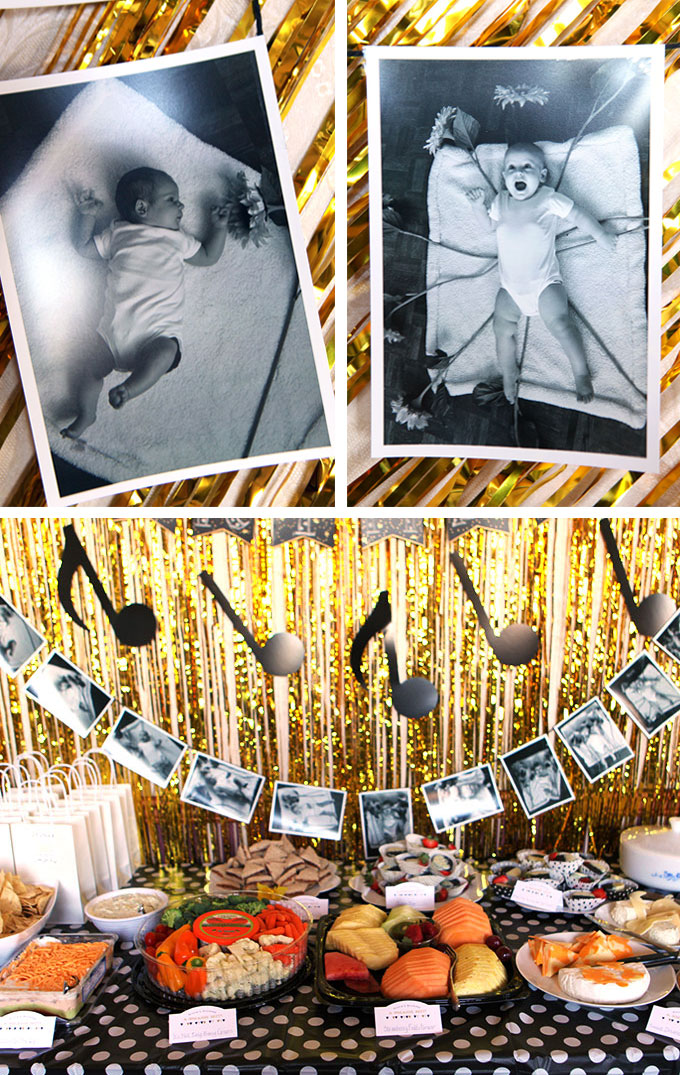 black white and gold music themed first birthday party evermine blog. Black Bedroom Furniture Sets. Home Design Ideas